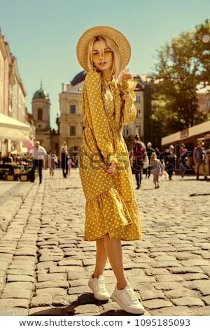красоту · женщину · платье · соломенной · шляпе · ретро · камеры - Сток-фото © deandrobot