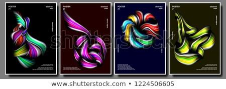 Liquid, Brush Poster Vector. Surreal Graphic. Multicolored Object. Illustration Stock photo © pikepicture