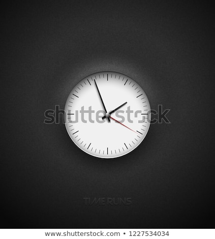 realistic bright white round clock cut out on textured plastic dark background black simple classic stock photo © iaroslava