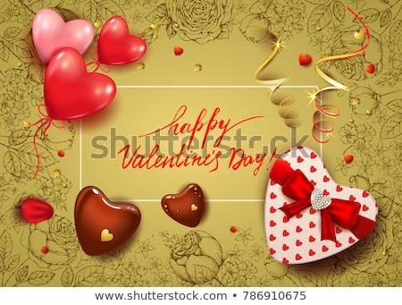 kırmızı · hediye · kutusu · gül · yaprakları · beyaz · çiçekler · kalp - stok fotoğraf © inxti