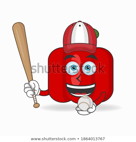 Red Chili Pepper Baseball Mascot Stock photo © patrimonio