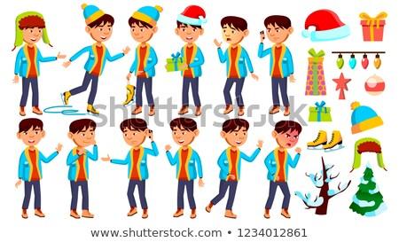 азиатских мальчика школьник Kid набор вектора Сток-фото © pikepicture
