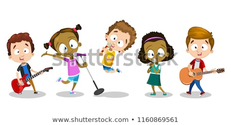 Many kids playing different musical instruments Stock photo © colematt