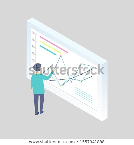 man at the blackboard writing graphs cartoon icon stock photo © robuart