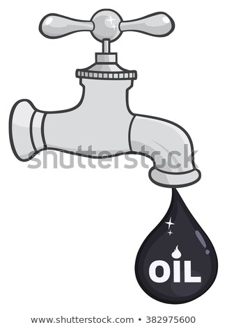 Faucet With Petroleum Or Oil Drop Design With Text Stock photo © hittoon