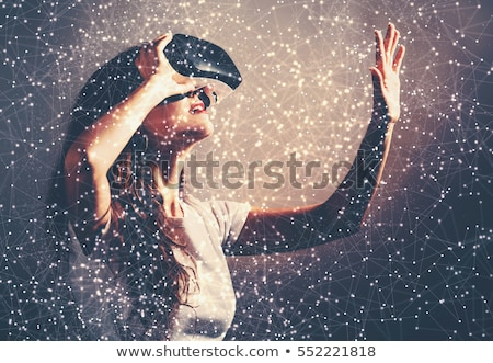Menina virtual realidade fone vista lateral casa Foto stock © AndreyPopov