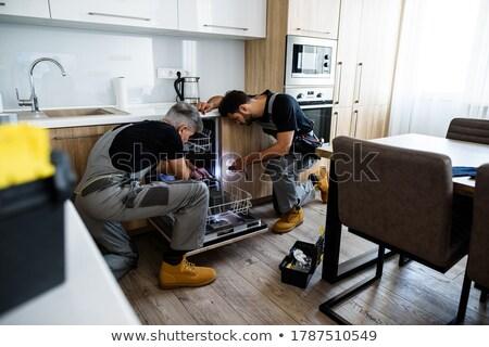 bulaşık · makinesi · mutfak · genç · elektrik - stok fotoğraf © andreypopov