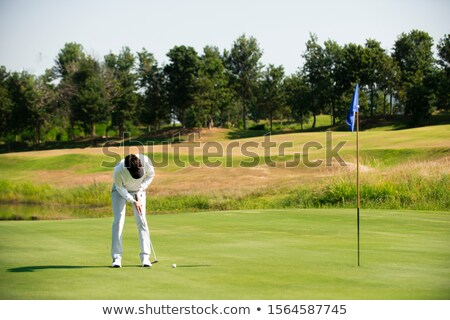 Male golfer putting ball in green Stock photo © Kzenon