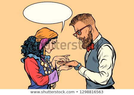 Gypsy palmist and hipster Stock photo © studiostoks