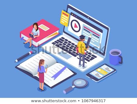 Isometrische vector mobiele onderwijs webinar Stockfoto © TarikVision