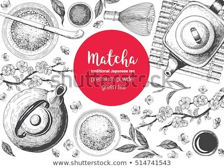 Sketch traditional Asian tea set. Vector illustration Stock photo © Arkadivna
