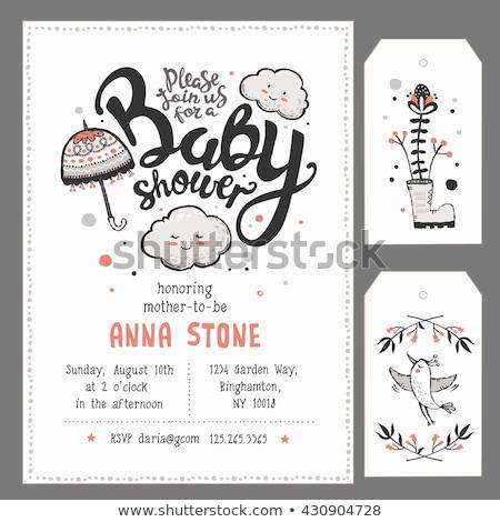 Bebek duş davetiye tebrik kartı bulutlar yüz Stok fotoğraf © lemony