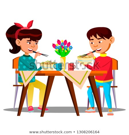 two hungry little asian kids at the table eating spaghetti pasta vector isolated illustration stock photo © pikepicture