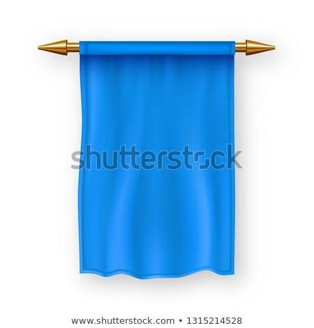 Stock photo: Blue Pennat Flag Vector. Pennon Fabric Blank. Advertising Canvas Banner. Hanging Wall Pennat. Herald