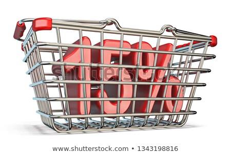 Aço carrinho de compras 15 por cento assinar 3D Foto stock © djmilic