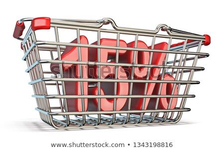 Steel shopping basket 15 PERCENT sign 3D Stock photo © djmilic