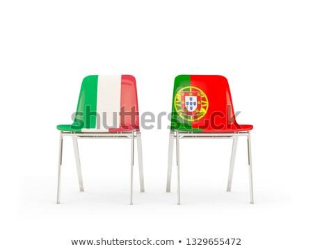два стульев флагами Италия Португалия изолированный Сток-фото © MikhailMishchenko