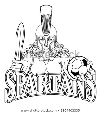 Trojaans spartaans voetbal voetbal sport mascotte Stockfoto © Krisdog
