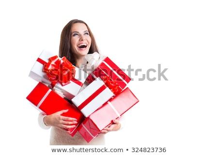 örömteli · nő · tart · dobozok · ajándékok · fehér - stock fotó © studiolucky
