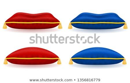 Kék szatén párna arany kötél izolált Stock fotó © konturvid
