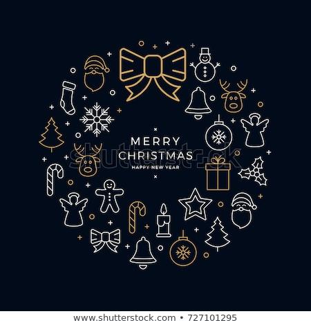 Allegro Natale biglietto d'auguri pupazzo di neve vischio secchio Foto d'archivio © robuart