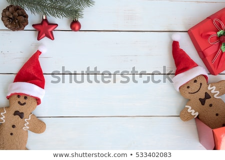 Gingerbread Man Santa Claus and Pine Tree Poster Foto stock © robuart
