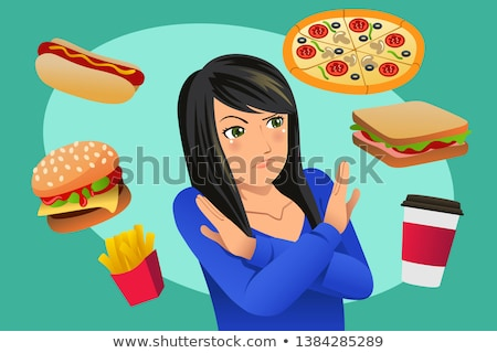 Woman Refusing Fast Food Temptation Illustration Stock photo © artisticco