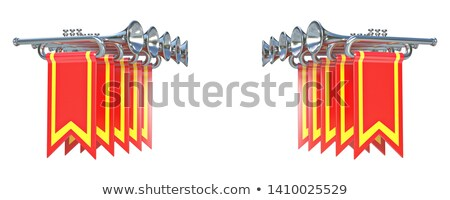 fanfare ten symmetrical silver trumpets and red flags 3d stock photo © djmilic
