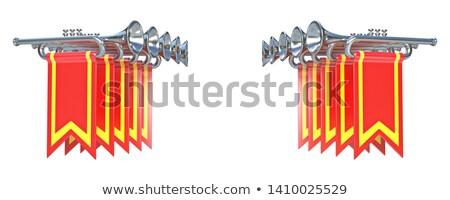 Tíz szimmetrikus ezüst piros zászlók 3D Stock fotó © djmilic