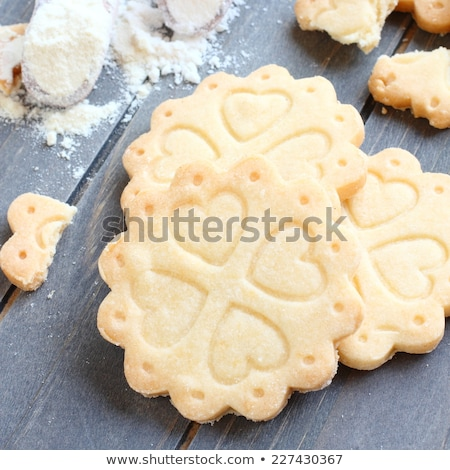 Homemade gluten free shortbread cookies with scoops of gluten free flour Stock photo © Melnyk