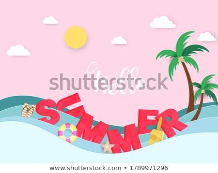 Verão venda projeto bola de praia exótico palmeira Foto stock © articular