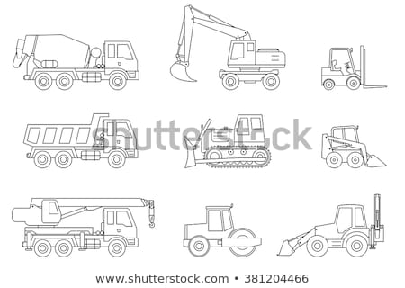 Caterpillar Tractor Vehicle Vector Thin Line Icon Stock photo © pikepicture