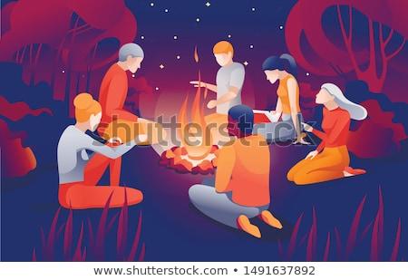 friends near bonfire leisure and picnic vector stock photo © robuart
