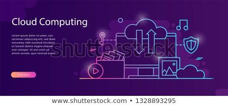 Háló hosting szalag izometrikus terv felhő alapú technológia Stock fotó © Genestro