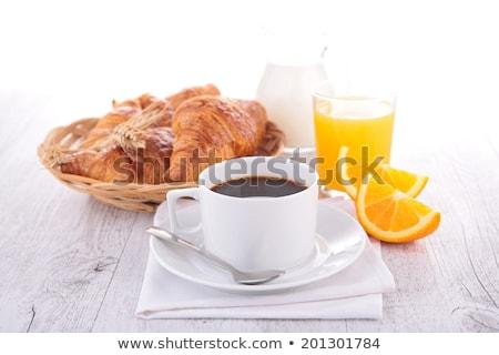 Foto stock: Café · suco · de · laranja · croissant · ensolarado · jardim · tabela
