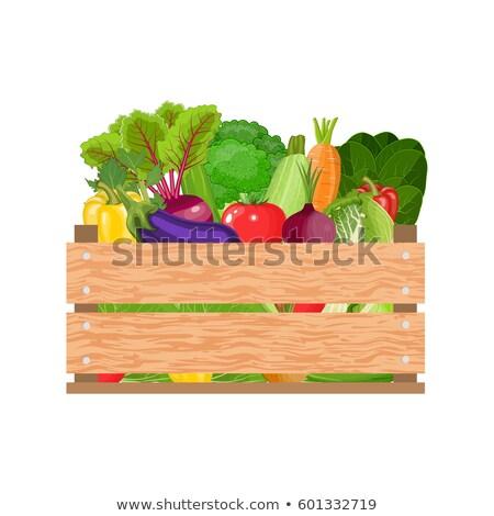 Stock fotó: Termény · láda · aratás · zöldségek · doboz · vektor