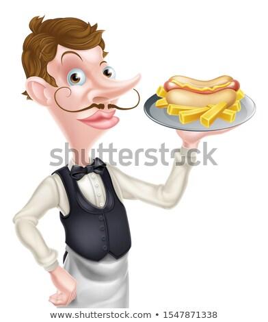 Rajz pincér komornyik tart hotdog sültkrumpli Stock fotó © Krisdog