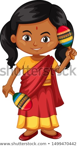 Indian girl shaking maracas Stock photo © bluering