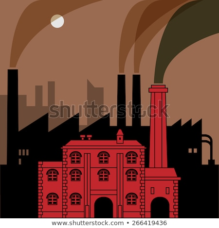 Stock photo: Industrial Revolution Landscape Drawing