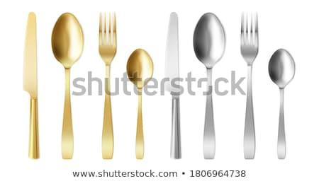 Сток-фото: Spoons Metallic Kitchenware Color Vector