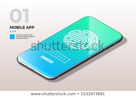 Impronte digitali scanner telefono schermo identificazione approvazione Foto d'archivio © tashatuvango