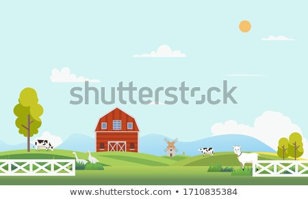 Countryside landscape with mill. Beautiful nature with mountains stock photo © cosveta