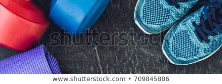 Afiş yoga mat spor ayakkabı dambıl şişe Stok fotoğraf © galitskaya
