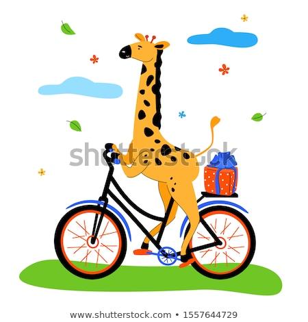 Sevimli zürafa bisiklete binme modern dizayn stil Stok fotoğraf © Decorwithme