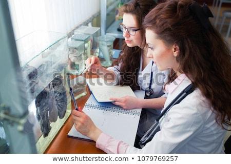 Tanár modell szív biológia osztály iskola Stock fotó © HighwayStarz
