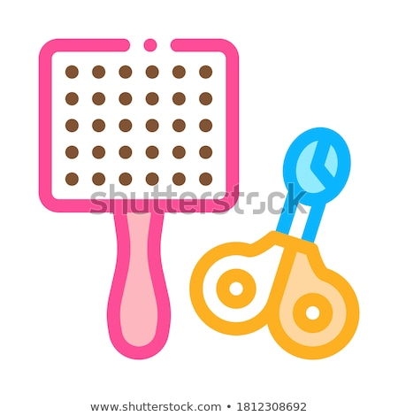 Pet Comb and Scissors Icon Vector Outline Illustration Stock photo © pikepicture