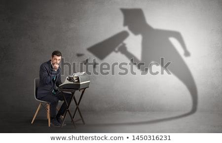 Işadamı gölge çalışma takım elbise büro Stok fotoğraf © ra2studio
