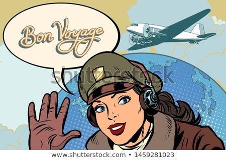 girl woman retro Aviator pilot welcome gesture Stock photo © studiostoks