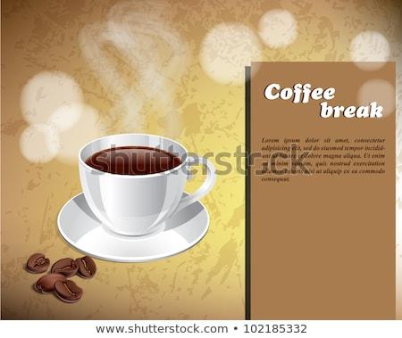Kahve fincanı fincan tabağı kaşık afiş vektör sıcak Stok fotoğraf © pikepicture