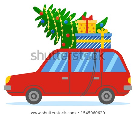 Red Car with Fir and Boxes on Roof, Xmas Preparing Stock photo © robuart